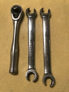 Three Cornwell Tools Two Flare Nut Wrenches And One Ratcheting Wrench Fs h