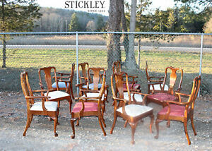 Rare Stickley Twelve 12 Cherry Chairs Dining Room Set Conference Armchairs