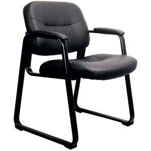 Office Side Chair Leather Executive Sled Base Black Reception Waiting Room Seat