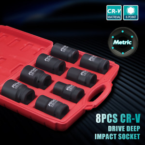 1 Inch Drive Master Deep Impact Socket Set Sae And Metric Combination 8pc Case