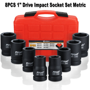 8pc 1 Inch Deep Impact Socket Set Drive Master Metric 22mm 41mm Cr V Steel