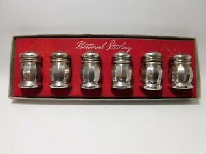 Vintage National Sterling Set Of Six Salt Shakers