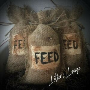New Primitive Bowl Fillers Burlap Farm Feed Bags Country Rustic Farmhouse Decor