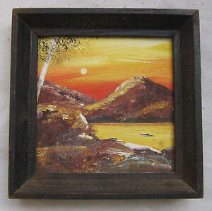 Landscape With Birch Russian Oil Painting Vintage W Old Wooden Frame Small
