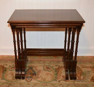 Vintage Ethan Allen Georgian Court Solid Cherry Nesting Nest Of Side End Tables