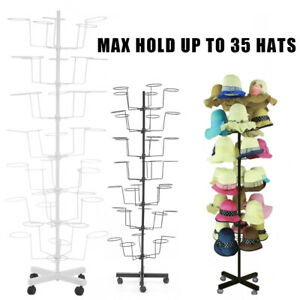 7 Tier Metal Hat Cap Rack Hanger Display Stand Rotating With 4 Wheel White