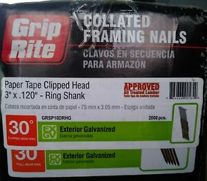 Grip rite Paper Tape Clipped Head 3 120 10d Ring Shank Framing Nails 30