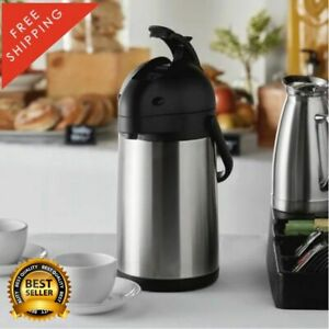 2 2 Liter 74 Oz Stainless Steel Lined Airpot Coffee Dispenser Lever Black Silver