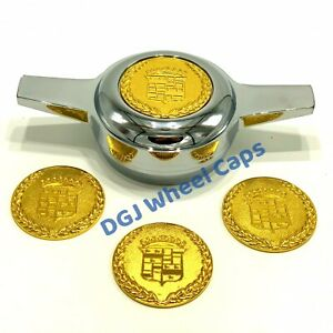 Cadillac Gold Lowrider Wire Wheel Metal Chips Emblems Size 2 25