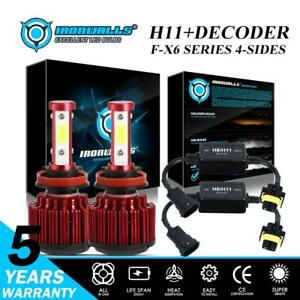 4 sides H11 H9 H8 Led High Or Low Beam Headlight Kit 6500k Bulbs decoder Canbus