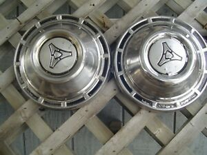 Two Vintage Plymouth Dodge Chrysler Police Hubcaps Wheel Covers Charger Mopar