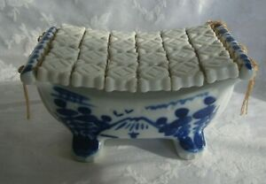 Antique Vintage Chinese White And Blue Porcelain Pillow Rare