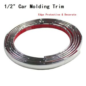 1 2 Wide Molding Trim Strip Decorate For Window Roof Hood Etc Chrome Silver 18ft