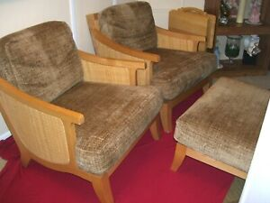 Rare Thayer Coggin Cane Reed Lounge Chairs W Ottoman Buyer Arranges Shipping