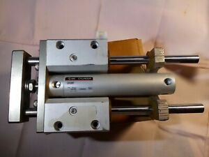 Smc Pneumatic Air Cylinder Dual Rod Guided Air Us12867 Max Pressure145 Psi