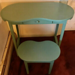 Vintage Kidney Shaped Desk Dressing Table Vanity With Matching Stool