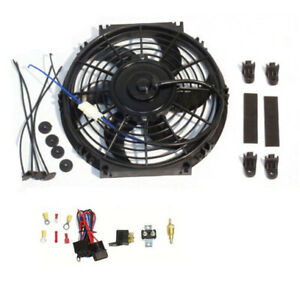 10 Electric Curved Blade Reversible Radiator Cooling Fans Thermostat Kit