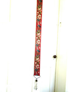 Fine Victorian Wool Needlepoint Bell Pull Cut Crystal Handle 66 Long
