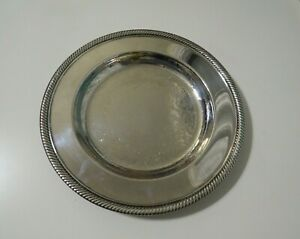 Wm Rogers 811 Round Serving Tray Silverplate 10 1 4 With Rope Edge Detail