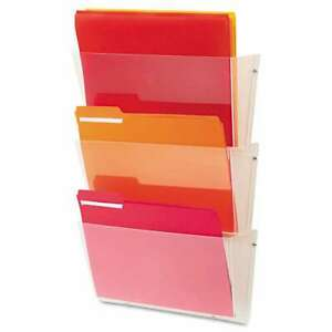 Deflecto Unbreakable Wall File Set Letter Three Pocket Clear 079916636016