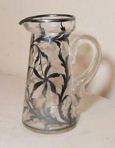Antique Ornate Sterling Silver Hand Overlay Clear Glass Water Pitcher Jug Jar