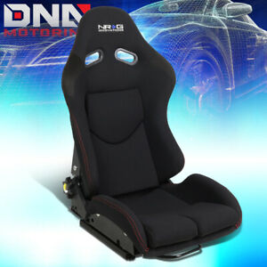 Nrg Innovations Black Fabric Red Stitching Reclinable Back Bucket Seat Rsc 400bk