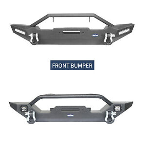 Front Bumper W Winch Plate Led Light D ring For Jeep Tj Wrangler 1997 2006