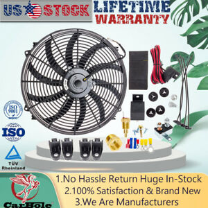 New 16 Inch Electric Radiator Cooling Fans Thermostat Fan Relay Switch Kit 12v