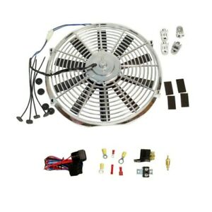 Chrome Electric 14 Straight Blade Reversible Cooling Fan 12v Thermostat Kit