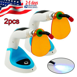 2x Cordless 10w Led Dental Curing Light Cure Lamp 2000mw 460 465nm2 whitening