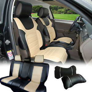 Pu Leather Car 5 Seats Covers Cushion 9 Pieces Front Rear Subaru 88255 Bk gray