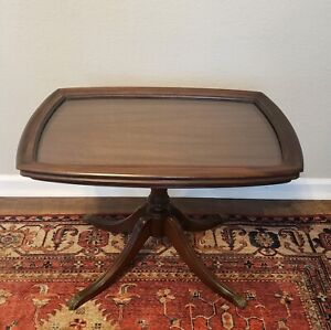 Brandt Furniture Duncan Phyfe Mahogany Glass Top Coffee Tea Serving Tray Table