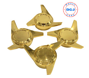 3 Bar Cut Gold Knock Off Spinner Caps For Lowrider Wire Wheels