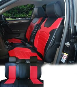 Pu Leather Car 5 Seats Covers Cushion 9 Pieces Front Rear Rouge 88255 Bk r