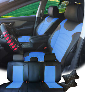 Pu Leather Car 5 Seats Covers Cushion 9 Pieces Front Rear Qx70 88255 Bk bl