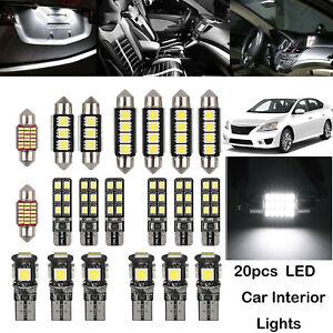 20x Canbus Led Car Interior Lights Error Free Smd License Plate Lamp Bulbs White