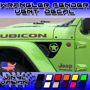 Distressed Star Fender Vent Decals For Jeep Wrangler Rubicon Jl 2018 2021
