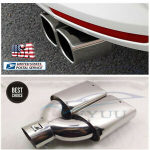 New 63mm 2 5 Car Rear Dual Exhaust Muffler Tip Tail Pipe Stainless Steel Us