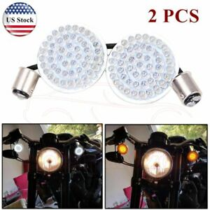 2 Led Front Rear Turn Signal Lights Inserts Amber White For Harley Softail Dyna
