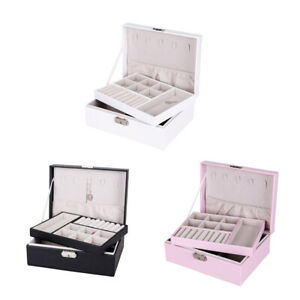 3 Pieces Jewelry Box Organizer Display Dual Layer Storage Case Earrings W Lock