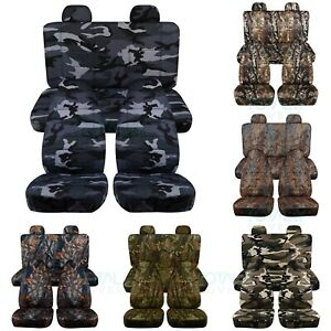 02 07 Jeep Liberty Kj Camo Seat Covers W Separate Molded Headrests Front Rear