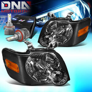 For 2006 2010 Ford Explorer sport Trac Headlights W led Kit Slim Style Smoked