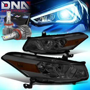 For 2008 2012 Honda Accord 2dr Projector Headlight W led Kit Slim Style Smoked