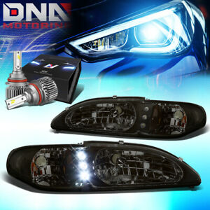 For 1994 1998 Ford Mustang Led Drl Signal Headlight W Led Kit Slim Style Smoked