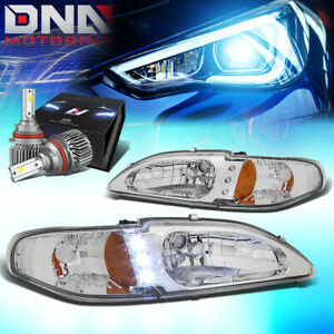 For 1994 1998 Ford Mustang Led Drl Signal Headlight W Led Kit Slim Style Chrome