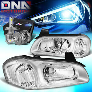 For 2000 2001 Nissan Maxima Front Driving Headlights W Led Kit Cool Fan Chrome