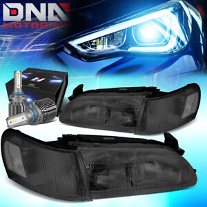 For 1993 1997 Toyota Corolla Headlight Lamps W led Kit cool Fan Smoked clear