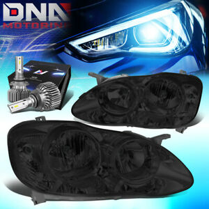 For 2003 2008 Toyota Corolla Corner Headlight Lamps W Led Kit Slim Style Smoked