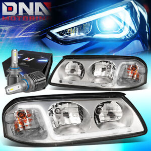 For 2000 2005 Chevy Impala Led Drl Chrome clear Headlights W led Kit cool Fan