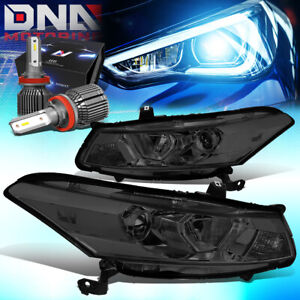 For 2008 2012 Honda Accord Coupe Projector Headlight W led Kit cool Fan Smoked